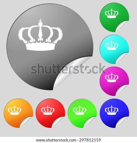 Crown icon sign. Set of eight multi colored round buttons, stickers. Vector illustration - stock vector