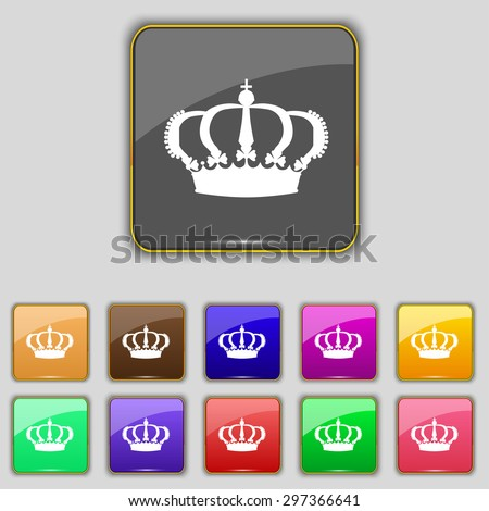 Crown icon sign. Set with eleven colored buttons for your site. Vector illustration - stock vector