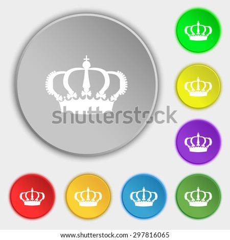 Crown icon sign. Symbol on five flat buttons. Vector illustration - stock vector