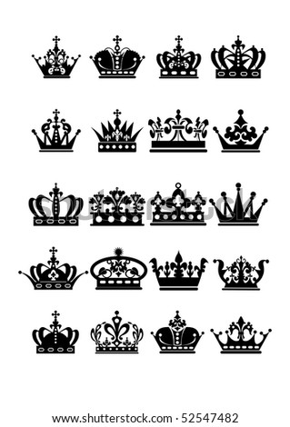 Crown icons collection - stock vector