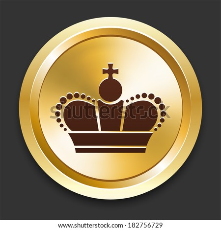 Crown Icons on Gold Button Collection - stock vector