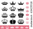 Crown icons set. Illustration vector. - stock vector