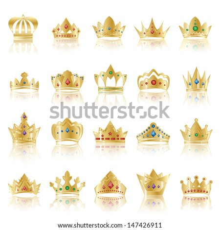 Crown Icons Set - Isolated On White Background - Vector Illustration, Graphic Design Editable For Your Design - stock vector