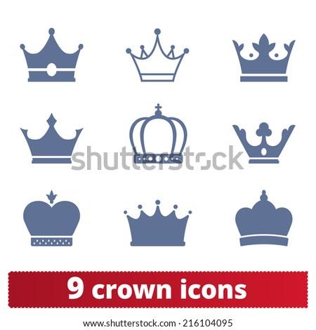 Crown icons:  vector set of royal insignia. Award, heraldry signs. - stock vector