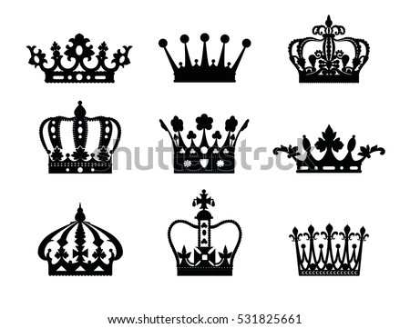Crown isolated on white background. Vector illustration of black crown icons. Crowns silhouette or symbol.