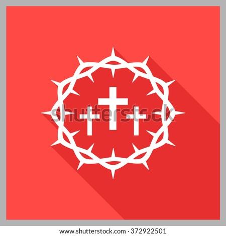 Crown of thorns. Good Friday (Christ Frida). Vector flat illustration. - stock vector