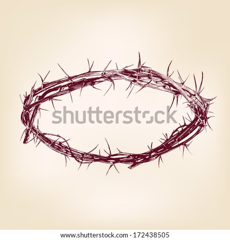 crown of thorns hand drawn vector illustration realistic sketch - stock vector