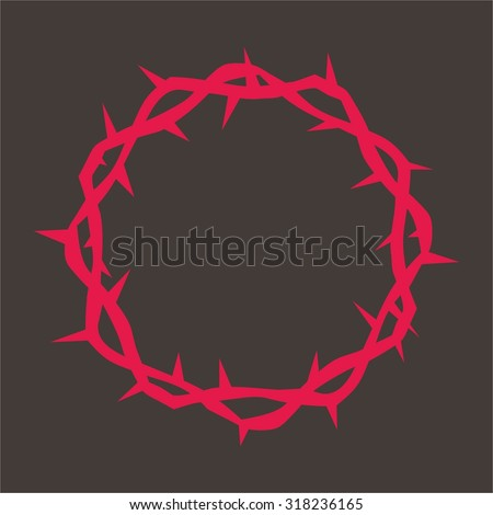 Crown of thorns in red - stock vector