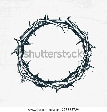 Crown of thorns Jesus Christ. Sketch, handmade - stock vector