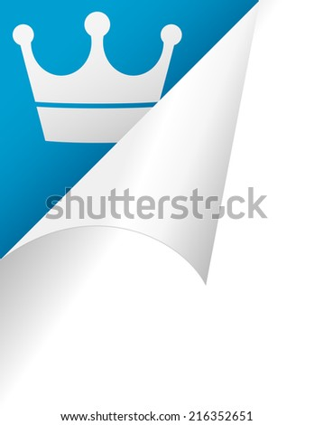 crown page peel in blue background - stock vector