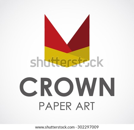 Crown paper art king abstract vector logo design template luxury business icon company identity art symbol concept - stock vector