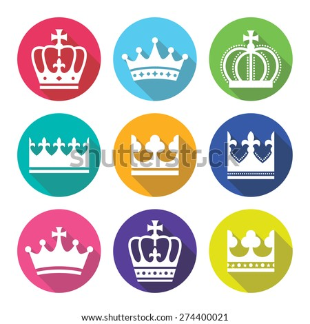 Crown, royal family flat design icons set      - stock vector