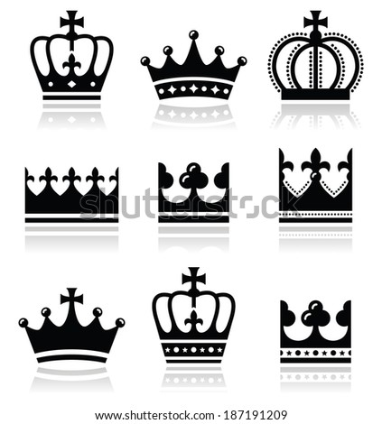 Crown, royal family icons set  - stock vector