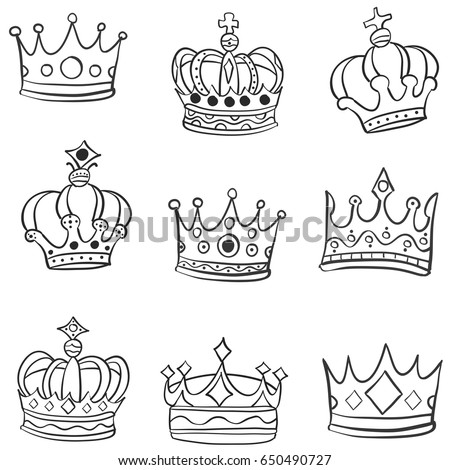 crown various hand draw doodles