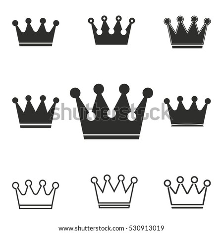 Crown vector icons set. Illustration isolated for graphic and web design.
