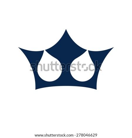 crown water drop neptune icon logo template - stock vector