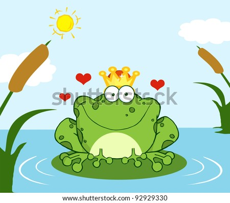 Crowned Frog Prince On A Leaf In Lake - stock vector
