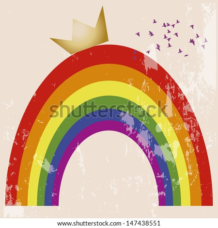 crowned gay pride symbol, purple birds in the sky. Rainbow with crown vintage background. - stock vector