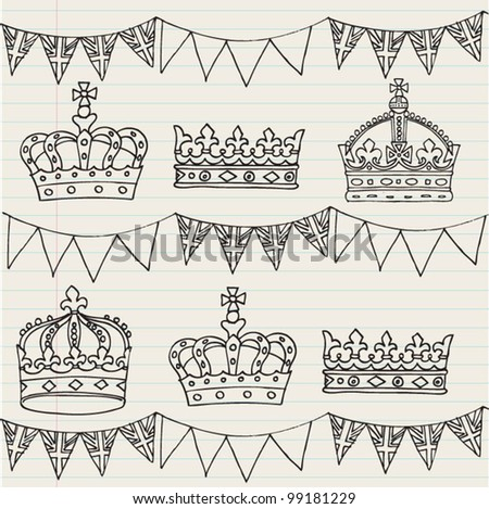 Crowns and bunting doodle seamless vector - stock vector