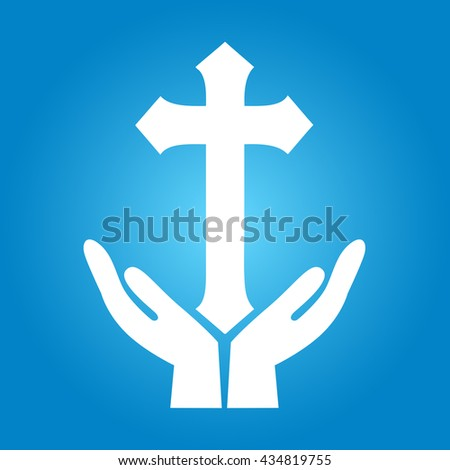 Crucifix. Crucifixion of Jesus Christ flat icon
