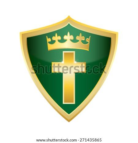 crucifix holly Christian Cross shield icon vector illustration - stock vector