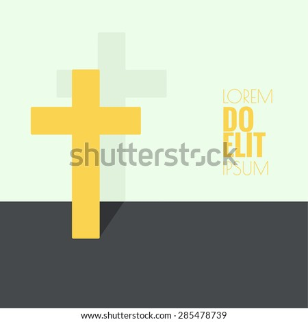 Crucifix. Symbols of Christianity and forgiveness. minimal. Outline. flat shadows - stock vector