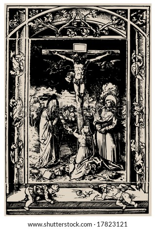 crucifixion. antiques religion book illustration, vector - stock vector