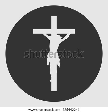 Crucifixion of Jesus Christ flat icon for religious apps - stock vector