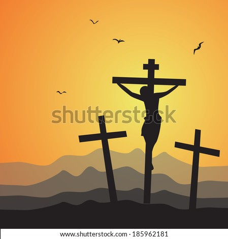 Crucifixion. Vector illustration of Jesus Christ's crucifixion. - stock vector