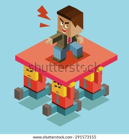 cruel boss of employee. vector illustration - stock vector