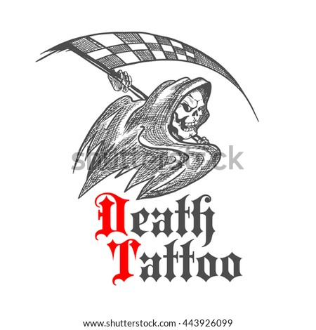 Cruel skeleton icon in black hooded cape threatening with checkered racing flag in a shape of scythe. Great for racing sport symbol, tattoo or grim reaper mascot design - stock vector