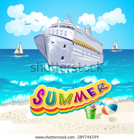 Cruise liner on the sea - stock vector