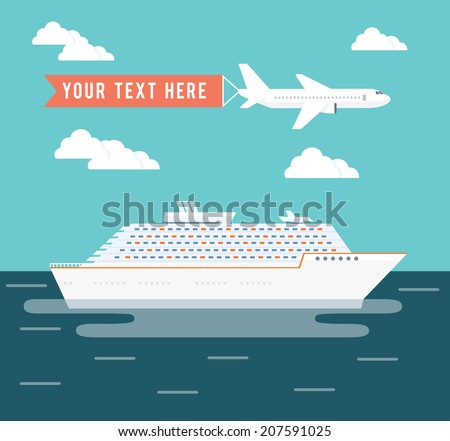 Cruise ship and plane travel vector poster design with a large passenger cruise liner on a voyage across the ocean on a tropical summer vacation and a plane flying overhead with copyspace for text
