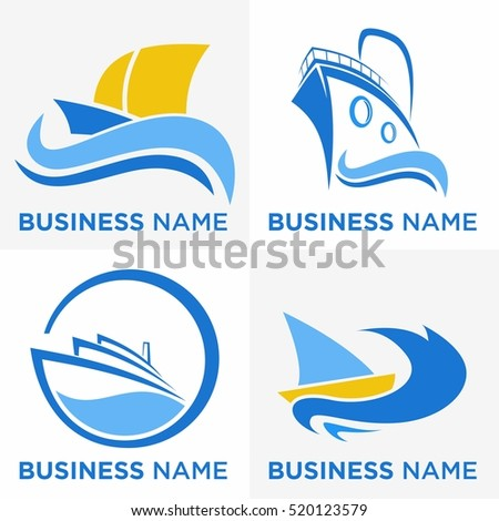 cruise ship logo set packs
