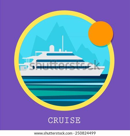 Cruise Ship vector Illustration. Retro styled white cruise ship on the ocean. - stock vector