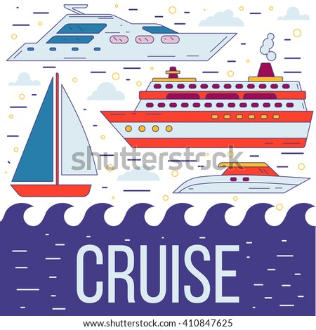 Cruise ship, yacht, boat, sea traveling, vacation vector illustration in flat modern trendy style. Flyer, banner, cover concept for cruise advertisement.  - stock vector