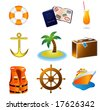 Cruise Travel Vacation Icons - stock vector