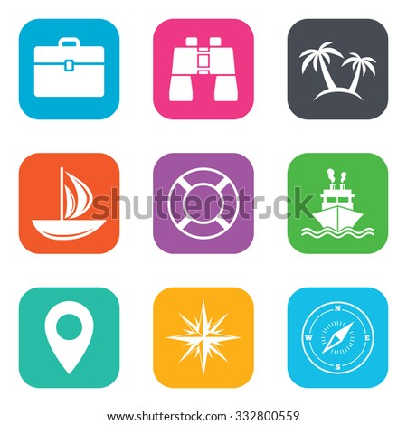 Cruise trip, ship and yacht icons. Travel, cocktails and palm trees signs. Sunglasses, windrose and swimming symbols. Flat square buttons. Vector - stock vector