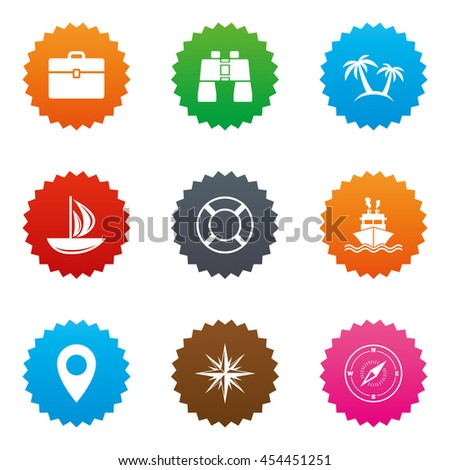 Cruise trip, ship and yacht icons. Travel, cocktails and palm trees signs. Sunglasses, windrose and swimming symbols. Stars label button with flat icons. Vector - stock vector