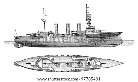 Cruiser Victoria Louise (Germany) / vintage illustration from Meyers Konversations-Lexikon 1897 - stock vector