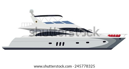 Cruising motor yacht on white background - stock vector