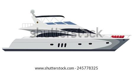 Cruising motor yacht on white background - stock vector