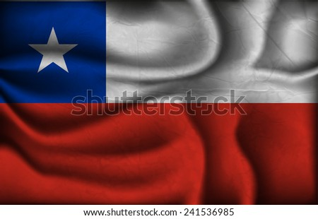 crumpled flag of Chile on a light background.