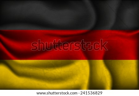 crumpled flag of Germany on a light background. - stock vector