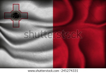crumpled flag of Malta on a light background. - stock vector