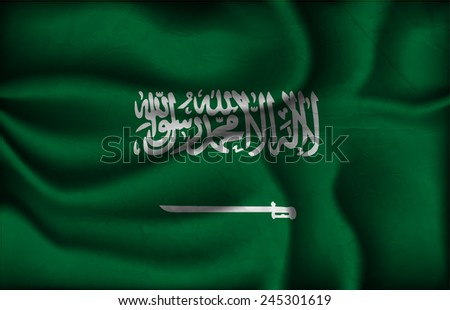 crumpled flag of Saudi Arabia on a light background. - stock vector