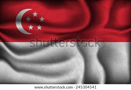 crumpled flag of Singapore on a light background. - stock vector