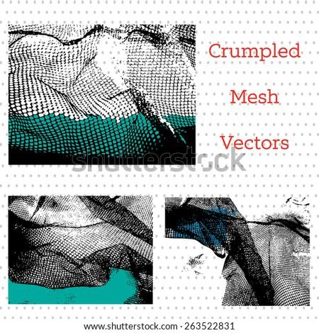 Crumpled mesh or netting design elements - stock vector