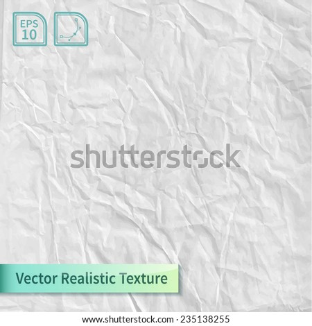 Crumpled paper sheet. Wrapping paper texture. Realistic vector texture for your design. - stock vector
