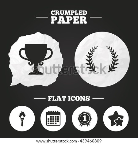 Crumpled paper speech bubble. First place award cup icons. Laurel wreath sign. Torch fire flame symbol. Prize for winner. Paper button. Vector - stock vector